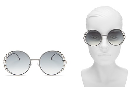 Fendi Women's Ribbons and Pearls Oversized Round Sunglasses, 58mm - Bloomingdale's_2