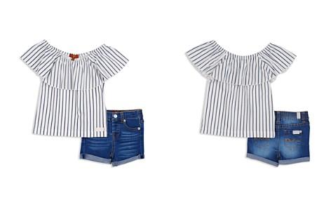 7 For All Mankind Girls' Off-the-Shoulder Striped Top & Denim Shorts Set - Baby - Bloomingdale's_2