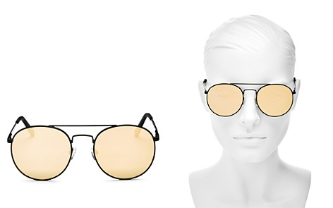 Le Specs Women's Revolution Mirrored Brow Bar Round Sunglasses, 54mm - Bloomingdale's_2