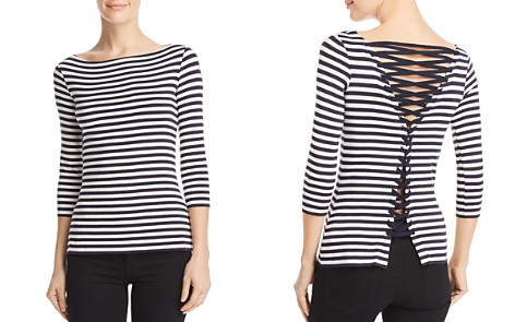 Bailey 44 Succulent Lace-Up Striped Top - Bloomingdale's_2