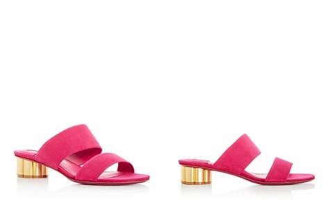 Salvatore Ferragamo Women's Suede Floral Heel Slide Sandals - Bloomingdale's_2