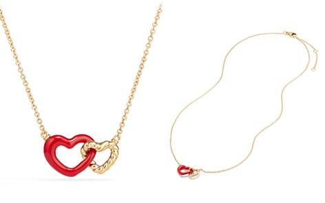 David Yurman Double Heart Pendant Necklace with Red Enamel and 18K Gold - Bloomingdale's_2