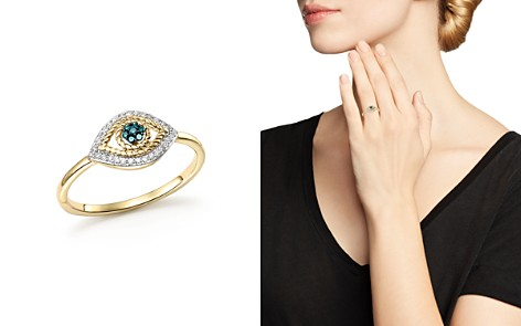 Adina Reyter 14K Yellow Gold Tiny Pavé White & Blue Diamond Evil Eye Ring - Bloomingdale's_2