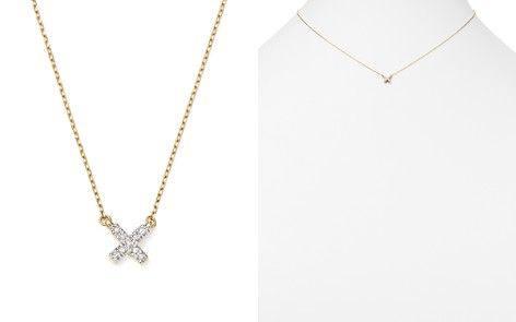 "Adina Reyter 14K Yellow Gold Pavé Diamond Tiny X Necklace, 15"" - Bloomingdale's_2"
