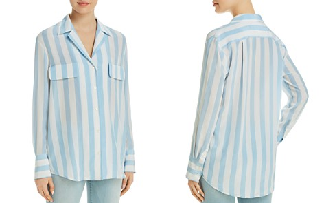 FRAME Mock Pocket Silk Striped Blouse - Bloomingdale's_2