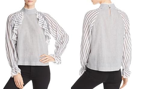 Marled Striped-Sleeve Top - Bloomingdale's_2