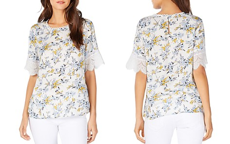 Michael Stars Floral-Print Lace-Trimmed Tee - Bloomingdale's_2