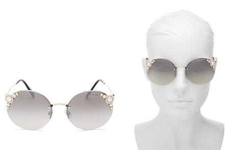Miu Miu Embellished Round Rimless Sunglasses, 60mm - Bloomingdale's_2