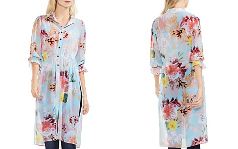 VINCE CAMUTO Faded Blooms Side Slit Tunic - Bloomingdale's_2