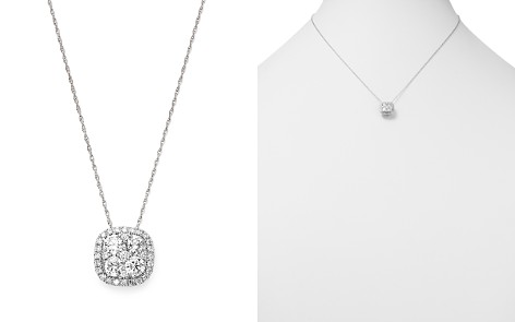 Bloomingdale's Diamond Cluster Pendant Necklace in 14K White Gold, 1.0 ct. t.w. - 100% Exclusive _2