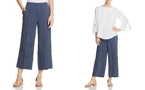 Eileen Fisher Striped Linen Wide-Leg Crop Pants - Bloomingdale's_2