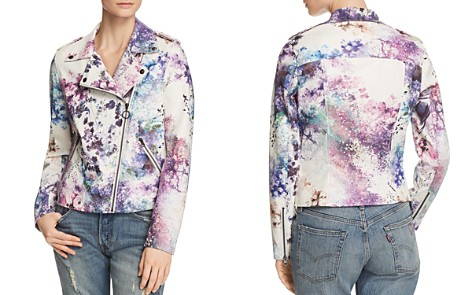 Bagatelle Watercolor Floral Faux Leather Moto Jacket - Bloomingdale's_2