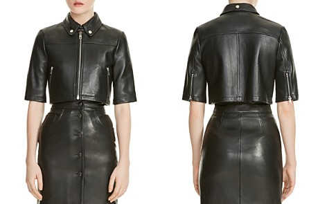 Maje Brittany Cropped Leather Shirt Jacket - Bloomingdale's_2