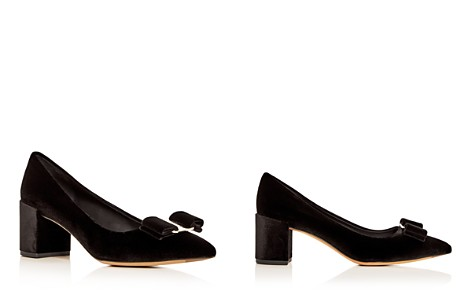 Salvatore Ferragamo Women's Alice 55 Velvet Block Heel Pointed Toe Pumps - Bloomingdale's_2