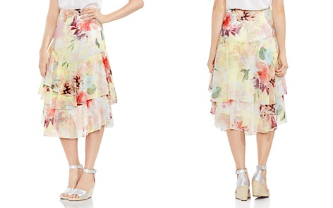 VINCE CAMUTO Faded Blooms Tiered Midi Skirt - Bloomingdale's_2