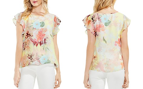 VINCE CAMUTO Flutter Sleeve Faded Bloom Blouse - Bloomingdale's_2