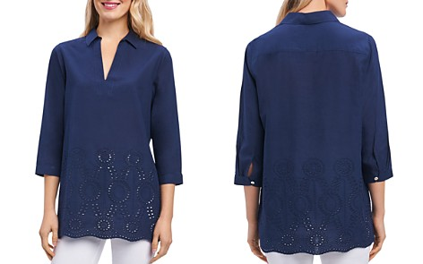 Foxcroft Embroidered Eyelet Tunic - Bloomingdale's_2