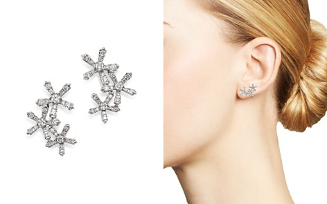 Bloomingdale's Diamond Flower Ear Climbers in 14K White Gold, 0.55 ct. t.w. - 100% Exclusive _2