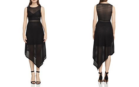 BCBGMAXAZRIA Leona Asymmetric Striped Mesh Dress - Bloomingdale's_2