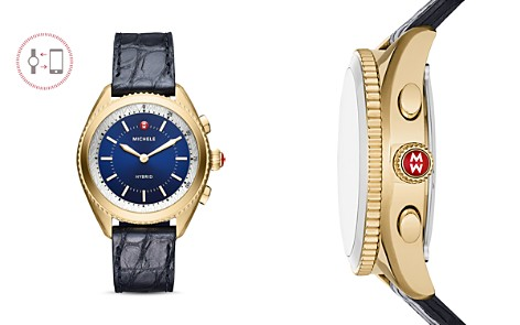 MICHELE Navy Alligator & Silicone Strap Hybrid Smartwatch, 38mm - Bloomingdale's_2