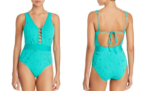 ATHENA All Dressed Up Plunge Front One Piece Swimsuit - Bloomingdale's_2