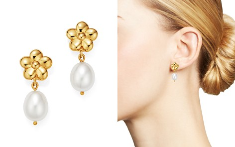 Bloomingdale's Cultured Freshwater Pearl & Flower Drop Earrings in 14K Yellow Gold - 100% Exclusive _2