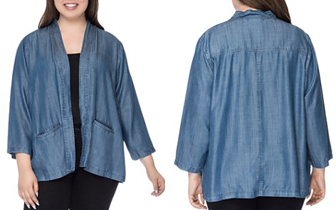 B Collection by Bobeau Curvy Hilary Chambray Open Jacket - Bloomingdale's_2