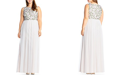 Adrianna Papell Plus Beaded Layered-Look Gown - Bloomingdale's_2