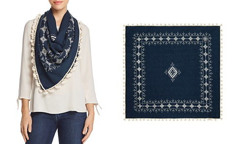 Tory Burch Tassel Embroidered Geometric Scarf - Bloomingdale's_2