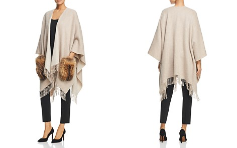 Weekend Max Mara Kuens Fringed Asiatic Raccoon Fur Pocket Wool Poncho - Bloomingdale's_2
