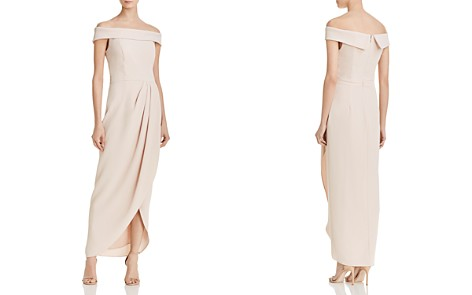 AQUA Off-the-Shoulder Draped Crepe Gown - 100% Exclusive - Bloomingdale's_2