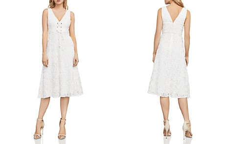 BCBGMAXAZRIA Evanna Lace-Up Embroidered Lace Dress - Bloomingdale's_2