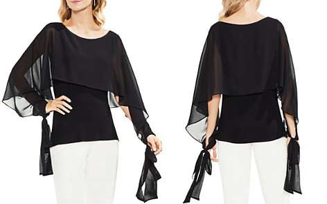 VINCE CAMUTO Tie-Sleeve Chiffon-Overlay Top - Bloomingdale's_2