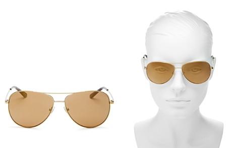 Tory Burch Mirrored Polarized Brow Bar Aviator Sunglasses, 59mm - Bloomingdale's_2