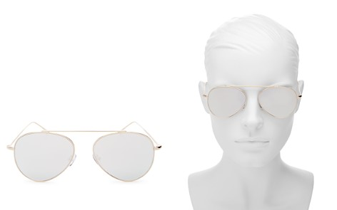 Illesteva Women's Dorchester Mirrored Brow Bar Aviator Sunglasses, 55mm - Bloomingdale's_2
