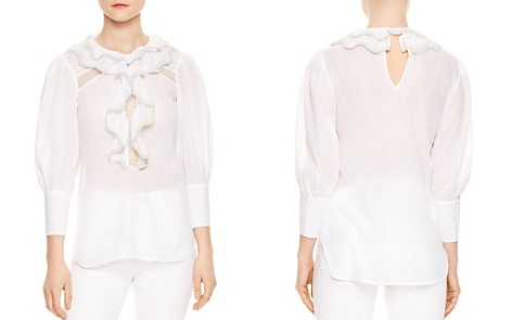 Sandro Raoule Ruffled Lac-Inset Top - Bloomingdale's_2