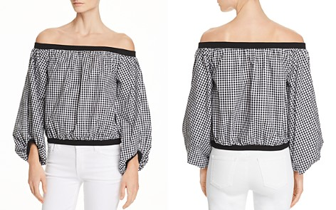 7 For All Mankind Off-the-Shoulder Gingham Top - Bloomingdale's_2
