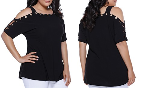 Belldini Grommet Lace-Up Cold-Shoulder Top - 100% Exclusive - Bloomingdale's_2