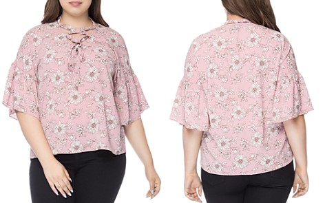B Collection by Bobeau Curvy Willa Printed Lace-Up Blouse - Bloomingdale's_2