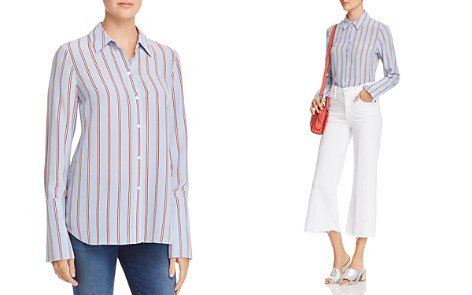 FRAME Long Cuff Striped Silk Pajama Blouse - Bloomingdale's_2
