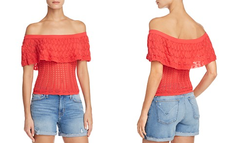 GUESS Amina Pointelle Off-the-Shoulder Top - Bloomingdale's_2