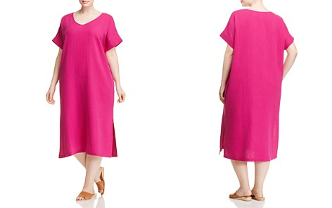 Eileen Fisher Plus Silk V-Neck Midi Dress - Bloomingdale's_2