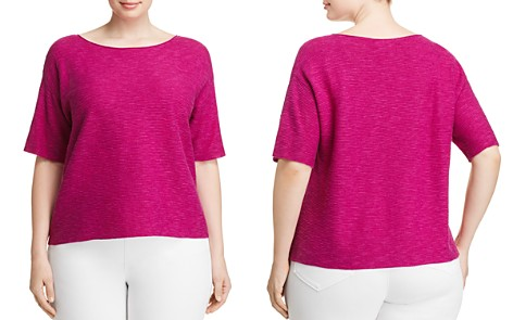Eileen Fisher Plus Ribbed Organic Linen & Cotton Top - Bloomingdale's_2