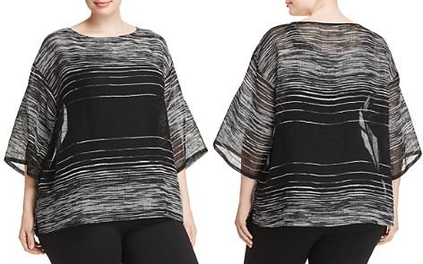 Eileen Fisher Plus Sheer Line-Print Top - Bloomingdale's_2