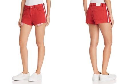 Pistola Winston High-Rise Striped-Trim Denim Shorts in Light Red - Bloomingdale's_2