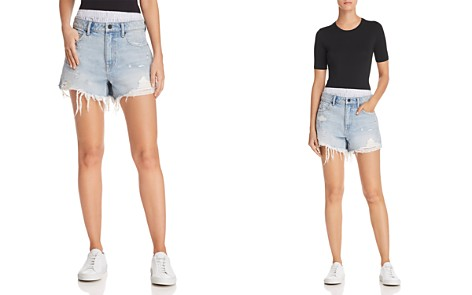 T by Alexander Wang Bite Mix Layered-Look Denim Shorts in Bleach - Bloomingdale's_2