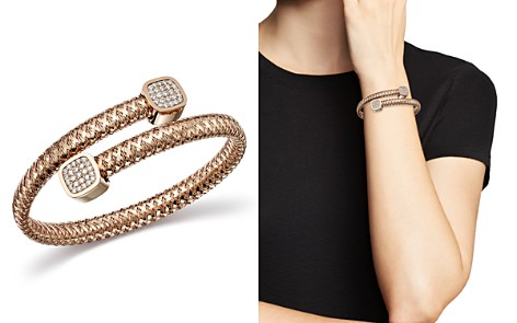 Roberto Coin 18K Rose Gold Primavera Diamond Capped Bypass Bangle - Bloomingdale's_2