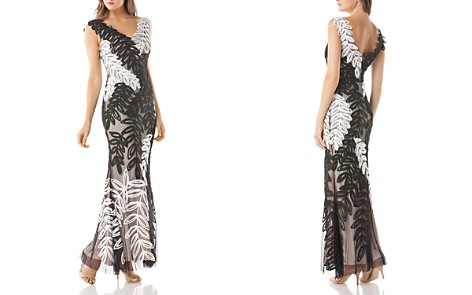 JS Collections Embroidered Leaf Gown - Bloomingdale's_2
