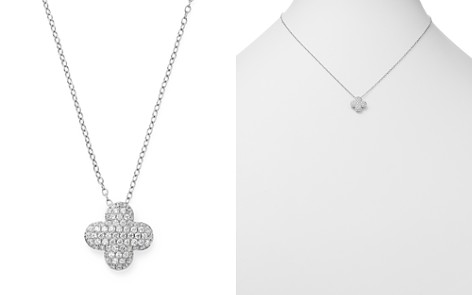 Bloomingdale's Diamond Clover Pendant Necklace in 14K White Gold, 0.50 ct. t.w. - 100% Exclusive_2