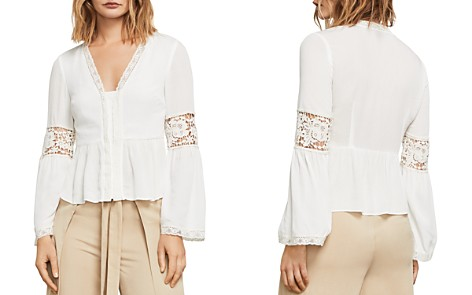 BCBGMAXAZRIA Kammy Lace-Trim Bell Sleeve Top - Bloomingdale's_2